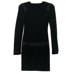 THEORY Black Long Sleeve Wool Blend Shift Dress P
